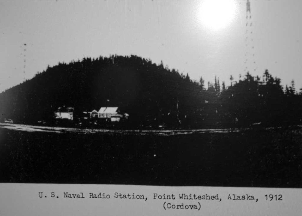 This 1912 photo shows Naval communications towers at Pt. Whiteshed. The two towers are visible in the background. Photo courtesy U.S. NAVY Archives, 1912