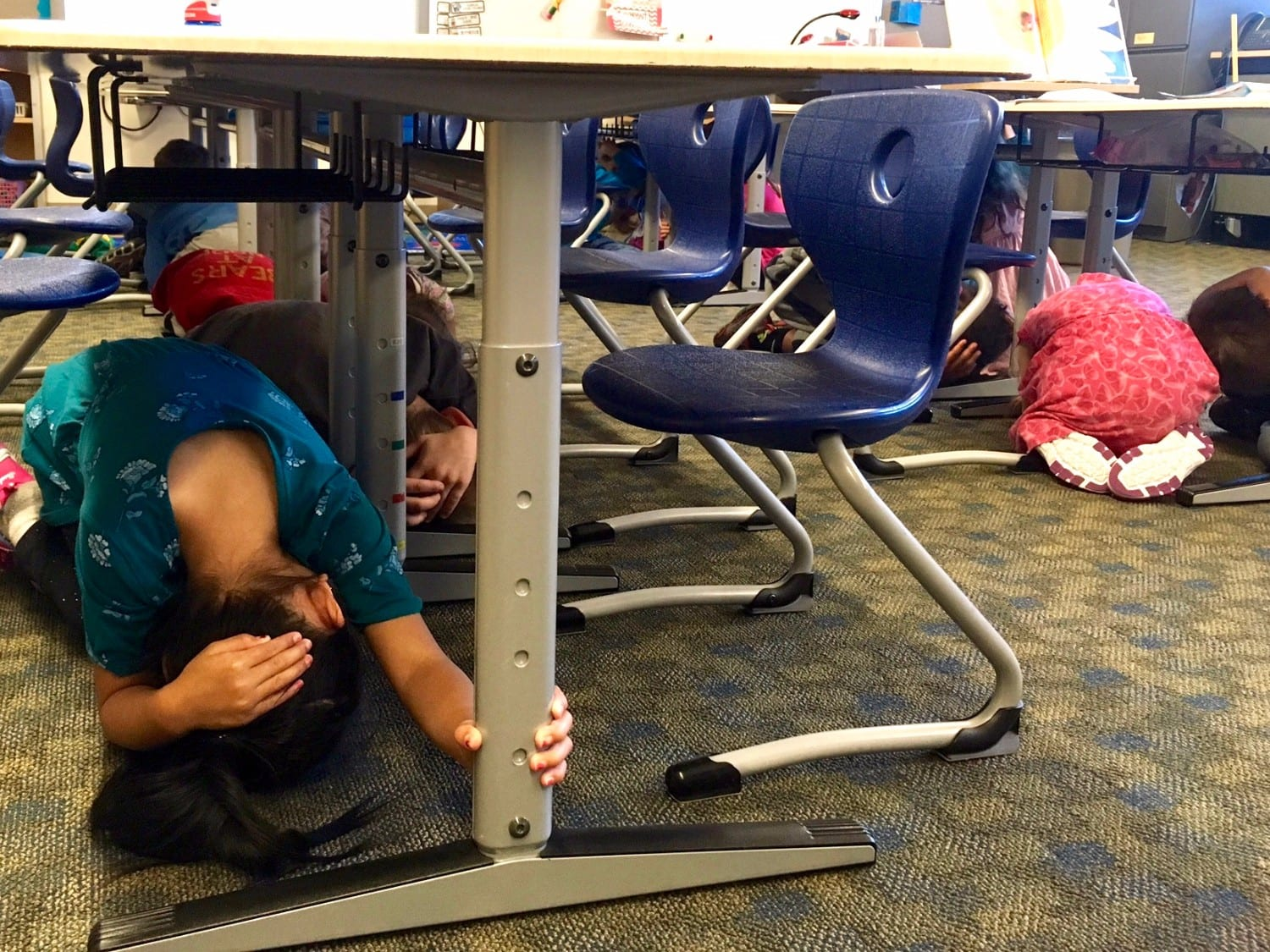 Cordova School District regularly participates in the Great Alaska Shakeout, kindergarten students included. Photo courtesy Joanie Behrends/For The Cordova Times