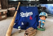 An unsigned Ron Cey Bat, Dodger warning track dirt, my favorite mitt from Cordova sandlot ball, and a restructured Fernando Valenzuela statue provide LA with World Series mojo. Photo by Dick Shellhorn/The Cordova Times