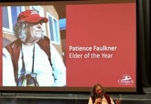 Patience Faulkner received the Chugach Alaska Corp.'s 2017 Elder of the Year award Oct. 14, during Chugach's annual shareholders' meeting at the Cordova Center. Photo by Angela Butler/For The Cordova Times