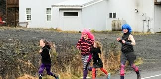 The Girls on the Run Costume 5K event started at the Masonic Hall on Main Street at 10 a.m. Oct. 28. The course took participants out Orca Road to a midway point, then back to the finish line at the hall. Photo by Cinthia Gibbens-Stimson/The Cordova Times