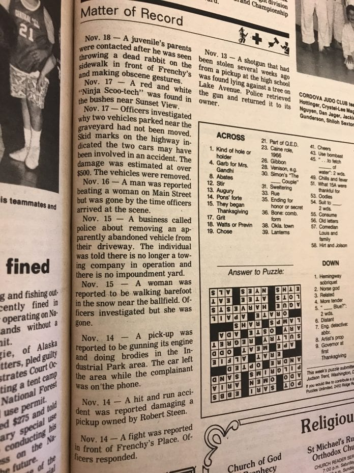 Flashback to November 25, 1987: a dead rabbit, auto issues, and the safe return of a stolen shotgun.