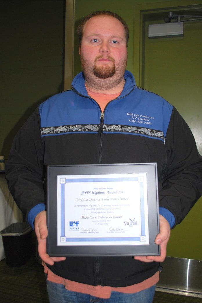 Ken Jones, captain of the F/V Serenity, and a board member of Cordova District Fishermen United, accepted an award at the Alaska Young Fishermen's Summit in Anchorage on Dec. 8 on behalf of CDFU in recognition of CDFU's 10 years of member supported sponsorship of the next generation of the next generation of Alaska fisheries leaders. CDFU sponsored participation at the three-day event for young Cordova harvesters. Photo by Margaret Bauman/The Cordova Times