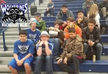 CHS High School Robotics Team watching FTC Southcentral finals, from left, Jackson Perry, Ethan Beckett, Emory Vican, TJ Hatch, James Griffith, James Perry, Dylan Maloney, Micah Whitcomb, Kevin Chung and Tristan Glasen. Photo courtesy CHS robotics team