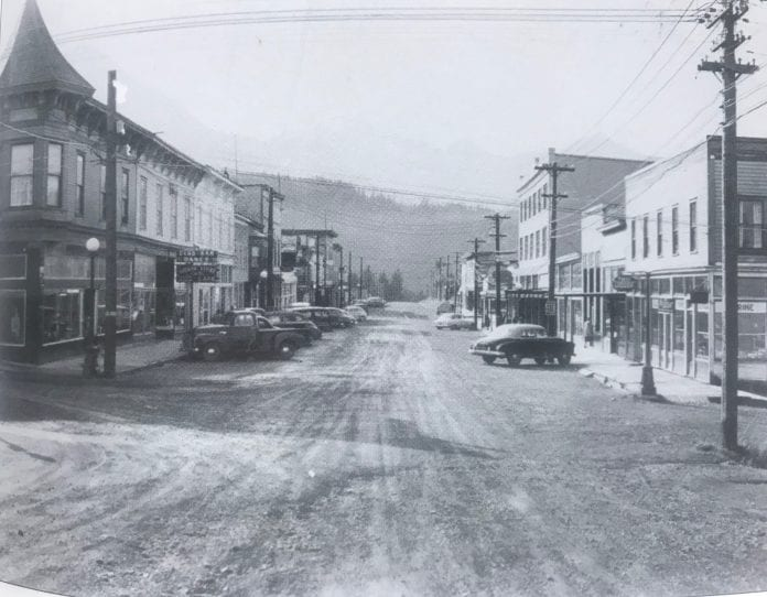 Main Street Cordova in the early 1950s. Notice the lamppost in front of the Cordova Commercial, which is the first building on the left. Photo courtesy of the Cordova Historical Society