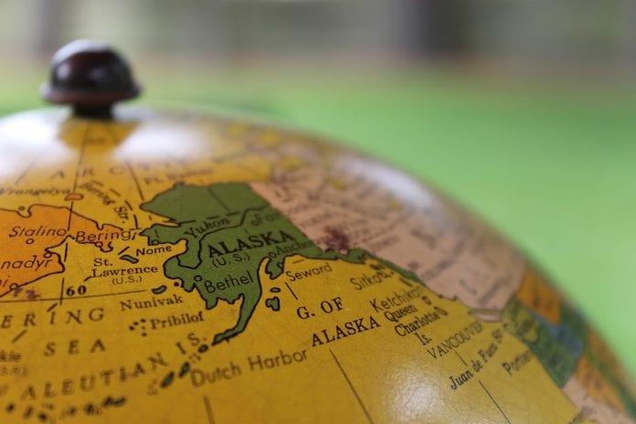 Alaska on a globe