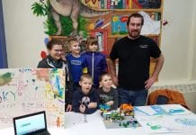 First grade Sky Robots sharing their project with the community. From left, Amber Thompson, Micah Phillips, Bastien Wagner, Grace Higgins, Tage Kinsman and Brian Wagner. Photo courtesy Cordova Tech Club