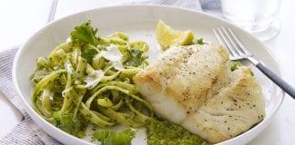 Pan-Seared Alaska Cod over Minted Pea Purée