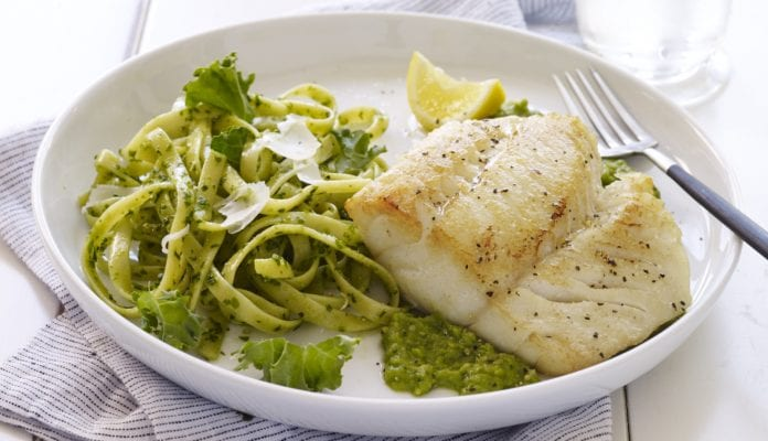 Pan-Seared Alaska Cod over Minted Pea Purée