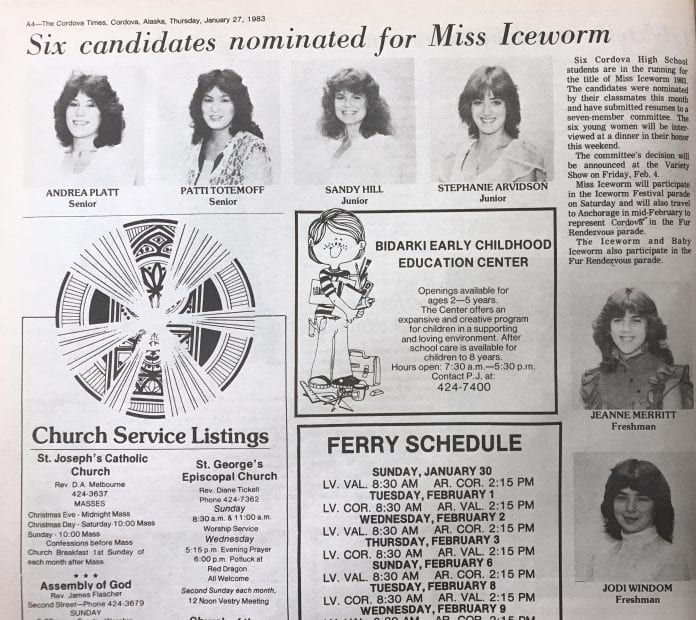 Six Cordova High School students are in the running for the title of Miss Iceworm 1983. The candidates were nominated by their classmates this month and have submitted resumes to a seven-member committee. The six young women will be interviewed at a dinner in their honor this weekend.