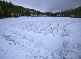 A snowman-style iceworm rests at Hollis Henrichs Park as town gets ready for the 2018 Iceworm Festival, as seen on Monday, Jan. 22, 2018. Photo by Emily Mesner/The Cordova Times