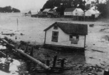 Damage in Odiak Slough caused by the tide surge following the 9.2 earthquake on 27 March 1964. Cordova Historical Society photo