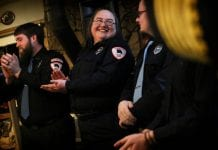 Katherine Mead smiles and laughs with Cody Handley during the CVFD awards banquet held at the Powder House on Saturday, Feb. 10, 2018. Photo by Emily Mesner/The Cordova Times