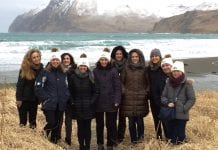 European seafood buyers came to Dutch Harbor to learn more about the industry, on a trip coordinated by Alaska Seafood Marketing Institute. The group, from left, includes Megan Rider, ASMI; Pat Shanahan, Genuine Alaska Pollock Producers; Helen Oxley, Young's; Carolina Nascimento, ASMI Brazil; Marta Otero, Pescanova; Greta Lelesiene and Rasa Matijosaitiene, Viciuni Group; Alice Ottoson-McKeen, ASMI; Liliana Marques, Soguima; and Elisabeth Lyfoung, Gelazur. Photo courtesy of ASMI