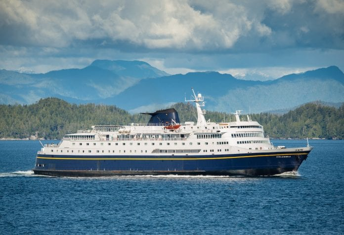 The MV Columbia, flagship vessel of the Alaska Marine Highway System, has a dual purpose these days. Along with several hundred travelers, the vessel carries scientific equipment that measures ocean temperatures, along with levels of carbon dioxide, oxygen and salt. Photo courtesy of AMHS