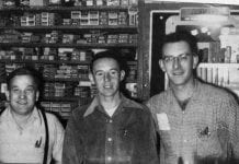 From left, Freddie Lantz, Harry Curran, and Kenny Van Brocklin, working the counter at the Cordova Commercial Company in 1954. Shellhorn Family Collection