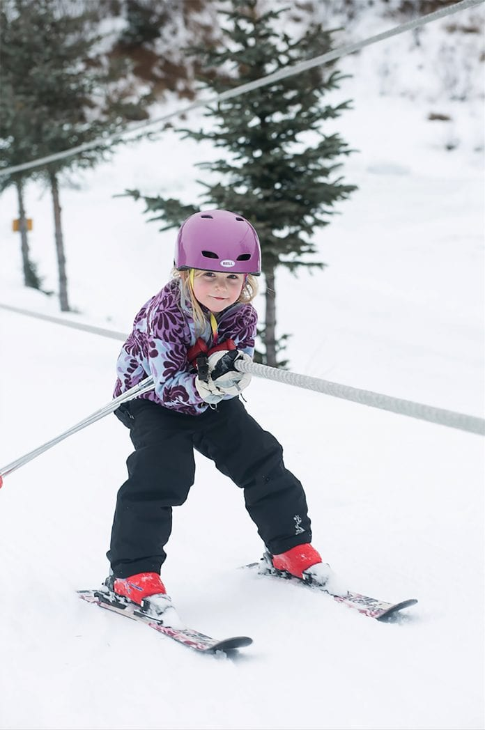 Nora Haisman uses the rope tow while skiing at the Mt. Eyak Ski Area on Feb. 18, 2018. Photo by Chelsea Haisman/for The Cordova Times