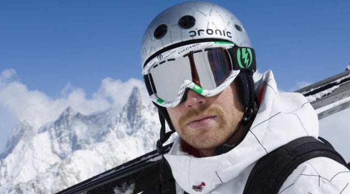 Helmets such as this with built-in earphones are the latest innovation to enhance entrainment for skiers and snowboarders.
