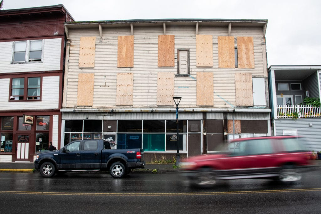 The threadbare state of some buildings on First Street was one common concern identified by Planning Department polls. The proposed Cordova Comprehensive Plan would incentivize businesses to renovate on First Street, seen here on Thursday, July 25, 2019.Photo by Zachary Snowdon Smith/The Cordova Times
