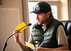 Brian Wildrick, owner of Harborside Pizza, addresses the Alaska Department of Transportation in a teleconference. The meeting, held Monday, July 29, heard feedback on a proposed ferry schedule including a seven-month service gap to Prince William Sound.
