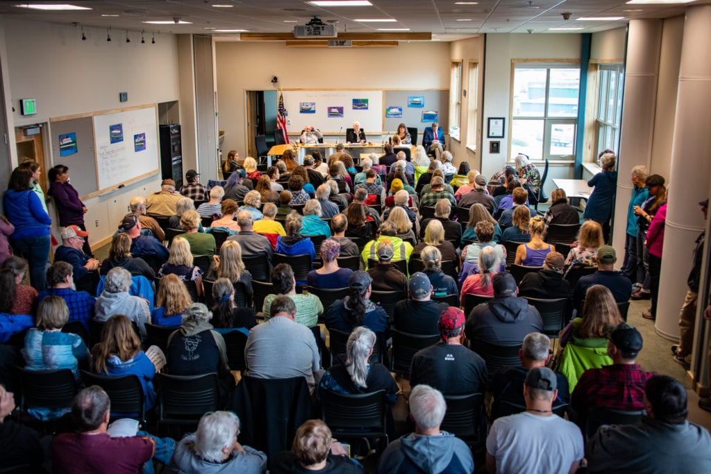 Residents crowd the Cordova Center for a meeting of the Alaska House Transportation Committee. The committee's Saturday, July 27, 2019, meeting heard testimony from residents on a proposed seven-month ferry stoppage. Photo by Zachary Snowdon Smith/The Cordova Times