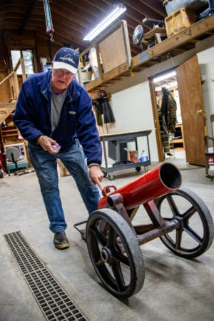 Mike Jackson with one of his cannons. Jackson has been building and firing cannons, like the one seen here on July 31, 2019, for over 50 years. Photo by Zachary Snowdon Smith/The Cordova Times