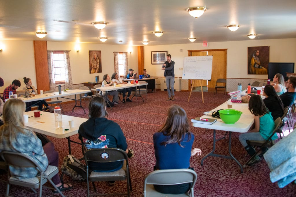 Linguist Guillaume Leduey addresses a group at the Eyak Culture Camp. Leduey, seen here on Saturday, Aug. 3, 2019, has visited Cordova since 2010 to study the Eyak language. Photo by Zachary Snowdon Smith/The Cordova Times