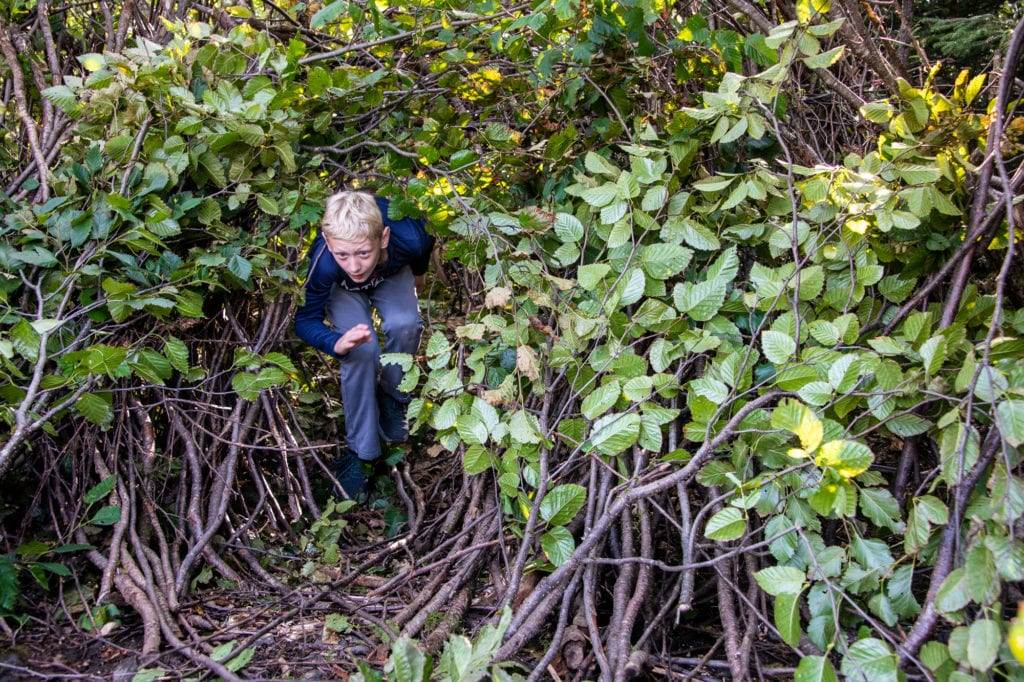 Ethan Yingling emerges from his team's shelter. Friday, Aug. 23, 2019, students from Mt. Eccles Elementary School built shelters using natural materials found in Chugach National Forest. Photo by Zachary Snowdon Smith/The Cordova Times