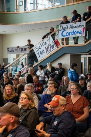 Two hundred fifty residents crowd the Cordova Center for a meeting of the Alaska House Transportation Committee. (July 27, 2019)  Photo by Zachary Snowdon Smith/The Cordova Times