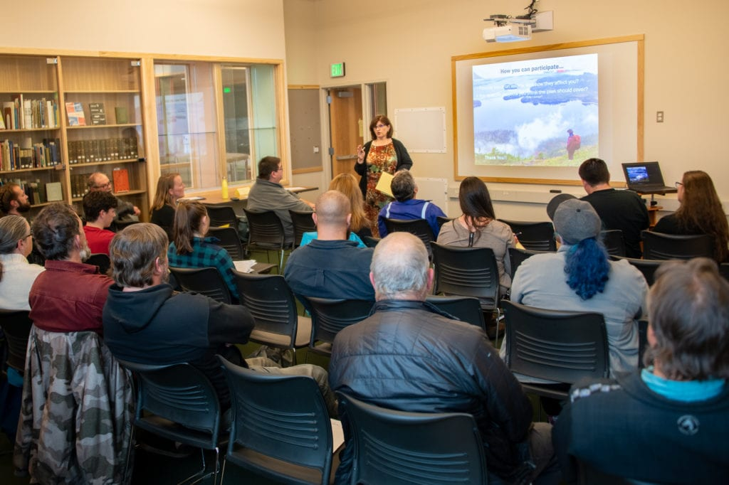 Wanetta Ayers, executive director of the Prince William Sound Economic Development District, addresses a public meeting on the Prince William Sound Area Transportation Plan. (Sept. 12, 2019) Photo by Zachary Snowdon Smith/The Cordova Times
