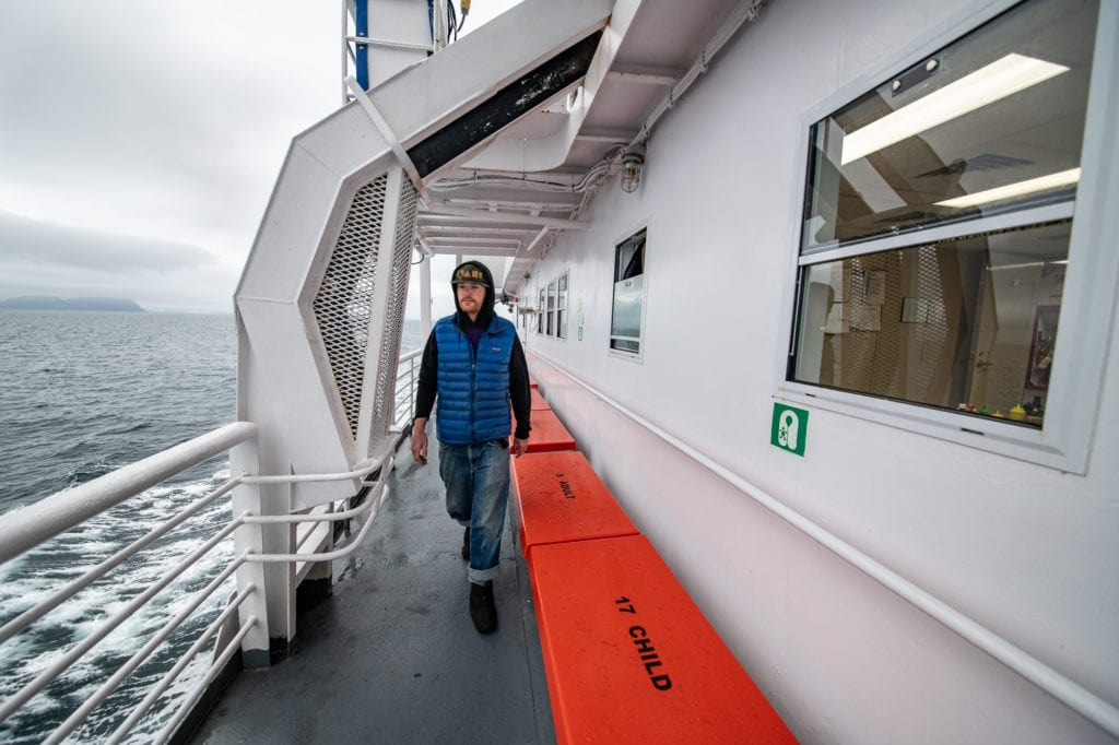 Passenger Ryan Blackadar aboard the M/V Aurora. (Sept. 19, 2019) Photo by Zachary Snowdon Smith/The Cordova Times