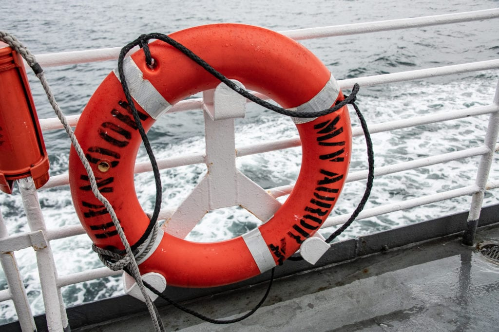 A lifebuoy aboard the M/V Aurora. (Sept. 19, 2019) Photo by Zachary Snowdon Smith/The Cordova Times