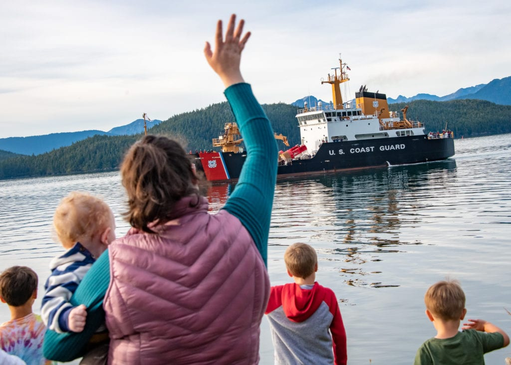 Friends and family of Coast Guardsmen the USCGC Fir as it prepares to dock. (Sept. 23, 2019) Photo by Zachary Snowdon Smith/The Cordova Times