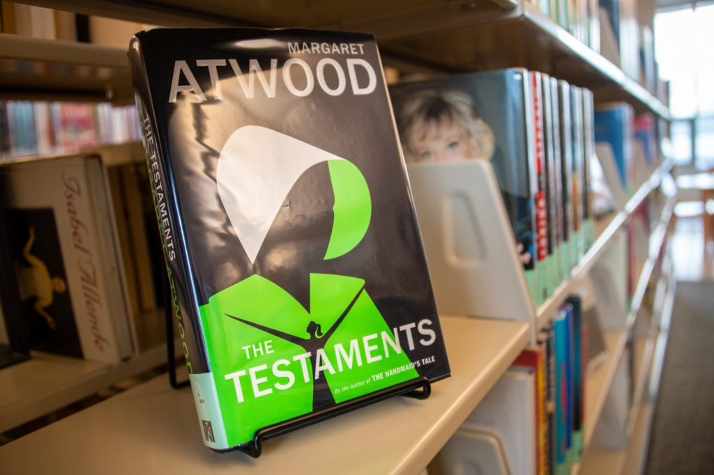 """""""The Testaments,"""" Margaret Atwood's follow-up to """"The Handmaid's Tale,"""" is available at Cordova Public Library. (Oct. 1, 2019) Photo by Zachary Snowdon Smith/The Cordova Times"""