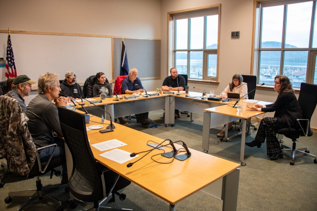 City manager candidate Helen Howarth (right) is interviewed by the Cordova City Council. (Sept. 28, 2019) Photo by Zachary Snowdon Smith/The Cordova Times