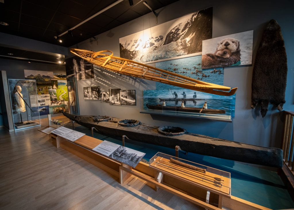 A kayak and related artifacts on display at Cordova Historical Museum. (Oct. 1, 2019) Photo by Zachary Snowdon Smith/The Cordova Times.