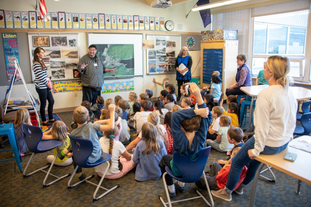 NVE Tribal Council Chairman Darrel Olsen addresses Mt. Eccles Elementary School students during Culture Week activities. (Oct. 3, 2019) Photo by Zachary Snowdon Smith/The Cordova Times