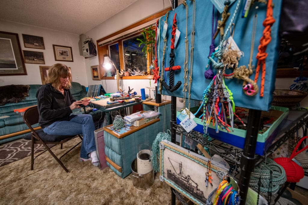 April Beedle works on knot handicrafts in her home workshop. (Oct. 1, 2019) Photo by Zachary Snowdon Smith/The Cordova Times