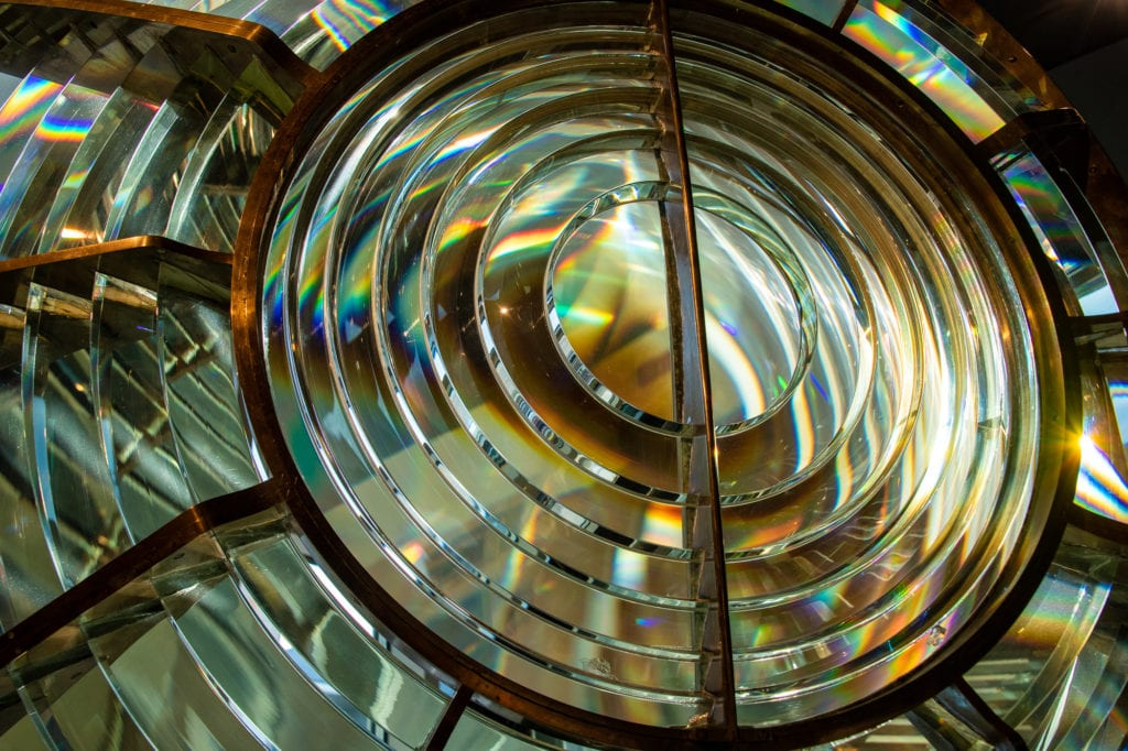 A lighthouse Fresnel lens on display at the Cordova Historical Museum. (Oct. 16, 2019) Photo by Zachary Snowdon Smith/The Cordova Times