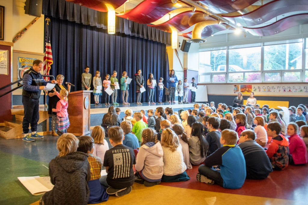 Mt. Eccles Elementary School students attend the school's first monthly character awards ceremony. (Oct. 7, 2019) Photo by Zachary Snowdon Smith/The Cordova Times
