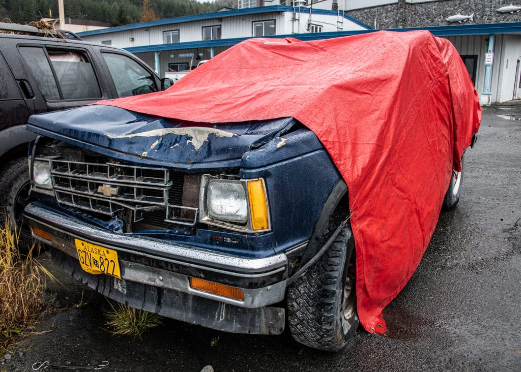 The 1986 Chevrolet Blazer involved in the Oct. 8 accident that claimed one life. (Oct. 15, 2019) Photo by Zachary Snowdon Smith/The Cordova Times