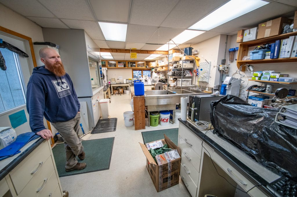 Oceanographer Rob Campbell in Prince William Sound Science Center's cramped, 400-square-foot laboratory. (Oct. 4, 2019) Photo by Zachary Snowdon Smith/The Cordova Times