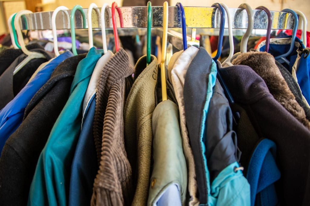 Inventory on display at the Cordova Church of the Nazarene's winter clothing giveaway. (Oct. 19, 2019) Photo by Zachary Snowdon Smith/The Cordova Times