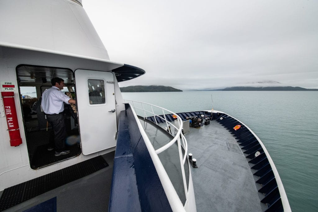 Captain Brett Merrill commands the M/V Aurora during its final 2019 run out of Cordova. (Sept. 19, 2019) Photo by Zachary Snowdon Smith/The Cordova Times