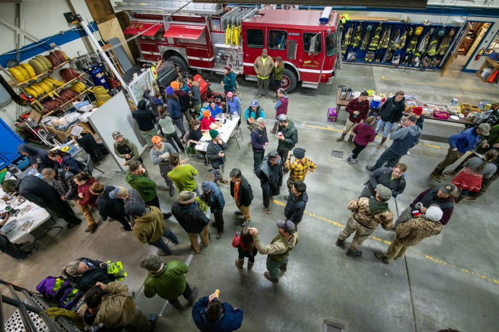 Volunteers gather at the Cordova Fire Hall. (Oct. 13, 2019) Photo by Zachary Snowdon Smith/The Cordova Times