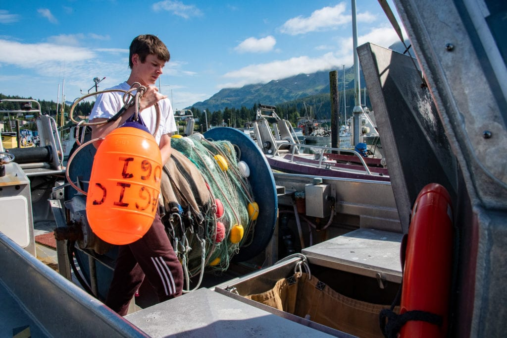 Reid Williams, 18, on his father's boat, the F/V Pelagic on Aug. 15, 2019. Williams was awarded a $2,000 scholarship by Cordova District Fishermen United. Photo by Zachary Snowdon Smith/The Cordova Times