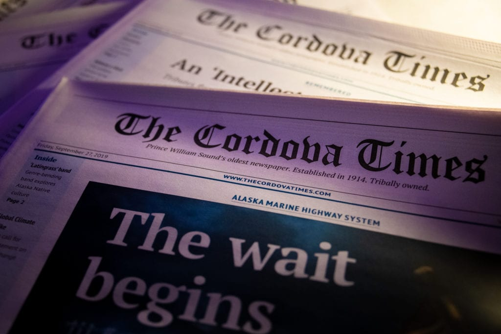 Print issues of The Cordova Times. (Oct. 23, 2019) Photo by Zachary Snowdon Smith/The Cordova Times