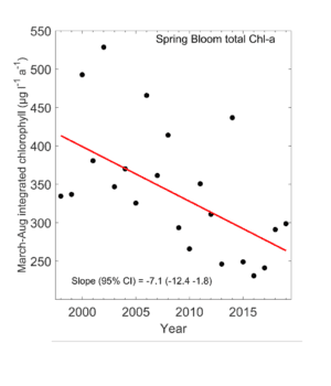 Productivity of the spring plankton bloom in Prince William Sound has been declining since the early 2000's. Image courtesy of Rob Campbell/Prince William Sound Science Center