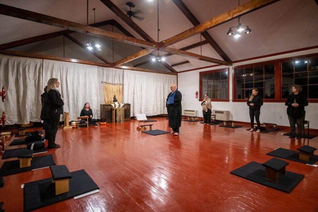Kelly Weaverling leads the Maha Sangha Zen Retreat at Orca Adventure Lodge. (Nov. 2, 2019) Photo by Zachary Snowdon Smith/The Cordova Times
