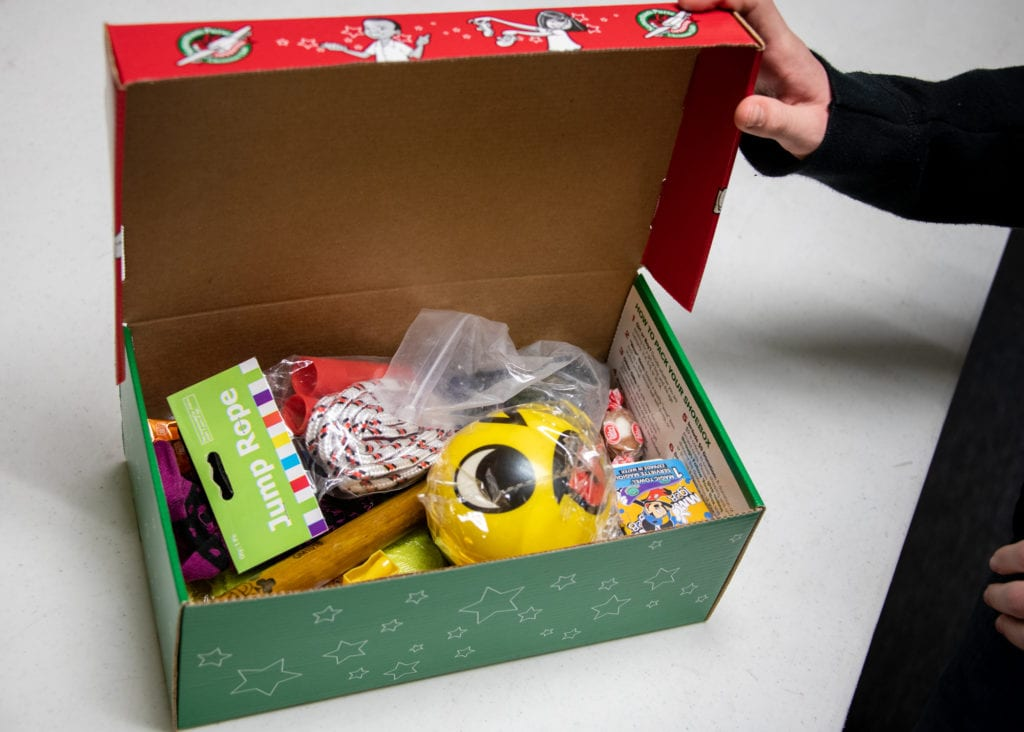 "An Operation Christmas Child ""shoebox"" prepared by Levi Pearson. (Nov. 9, 2019) Photo by Zachary Snowdon Smith/The Cordova Times"